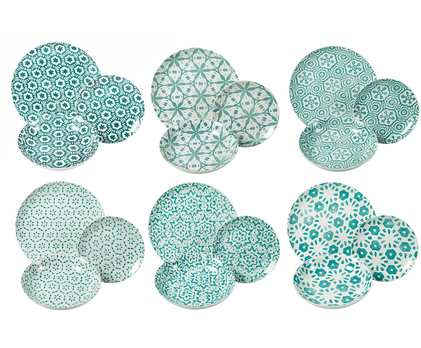 Vajilla Bodrum, 6comensales (18pzas.), Porcelana, Turquesa, blanco, Tamaños diferentes