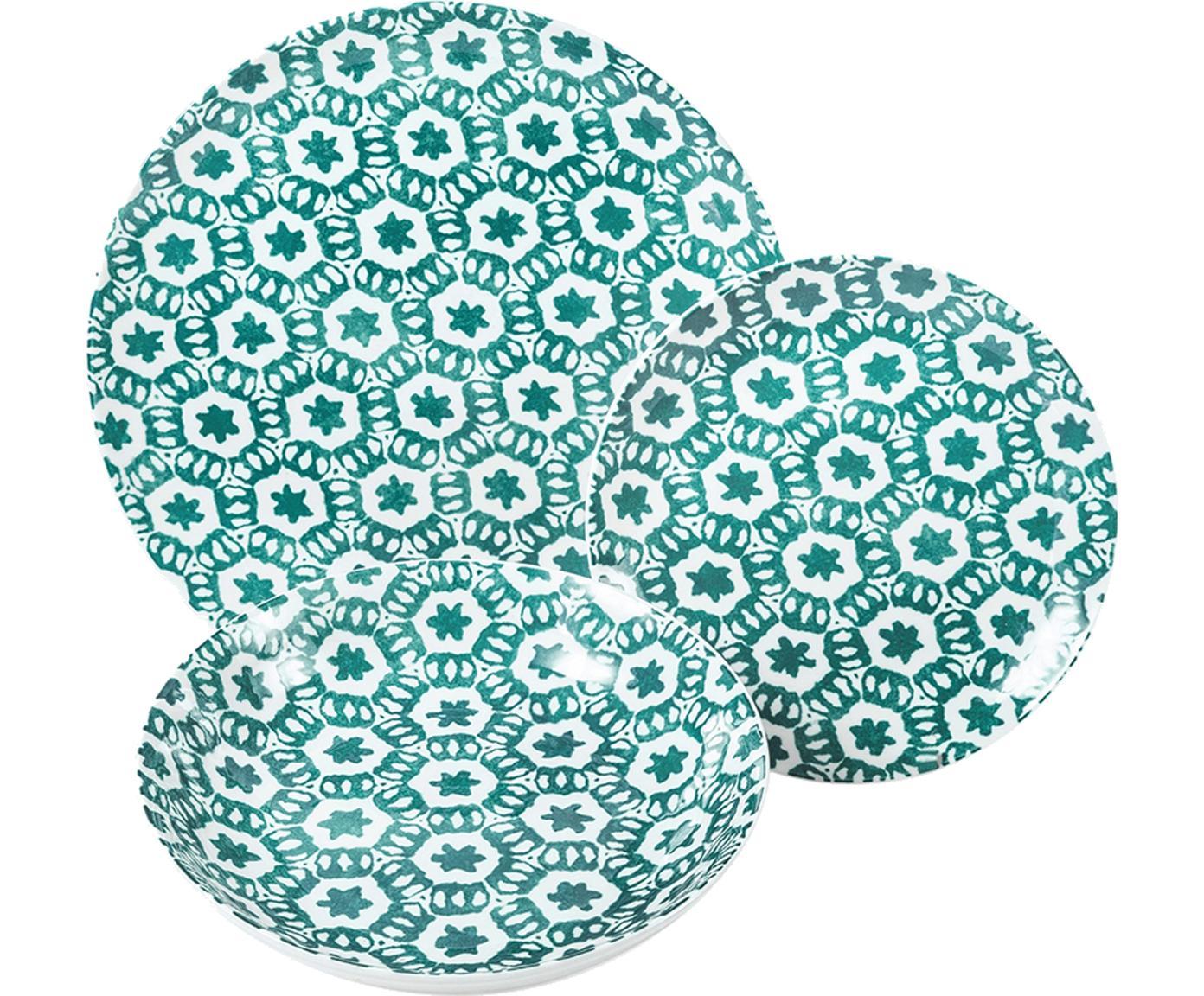 Komplet naczyń  Bodrum, 18 elem., Porcelana, Turkusowy, biały, Różne rozmiary
