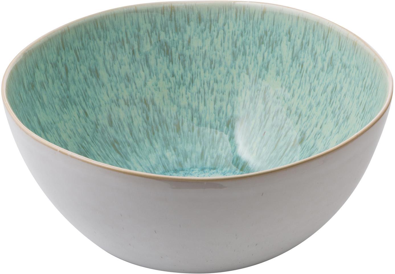 Handbemalte Salatschüssel Areia mit reaktiver Glasur, Steingut, Mint, Gebrochenes Weiss, Beige, Ø 26 x H 12 cm