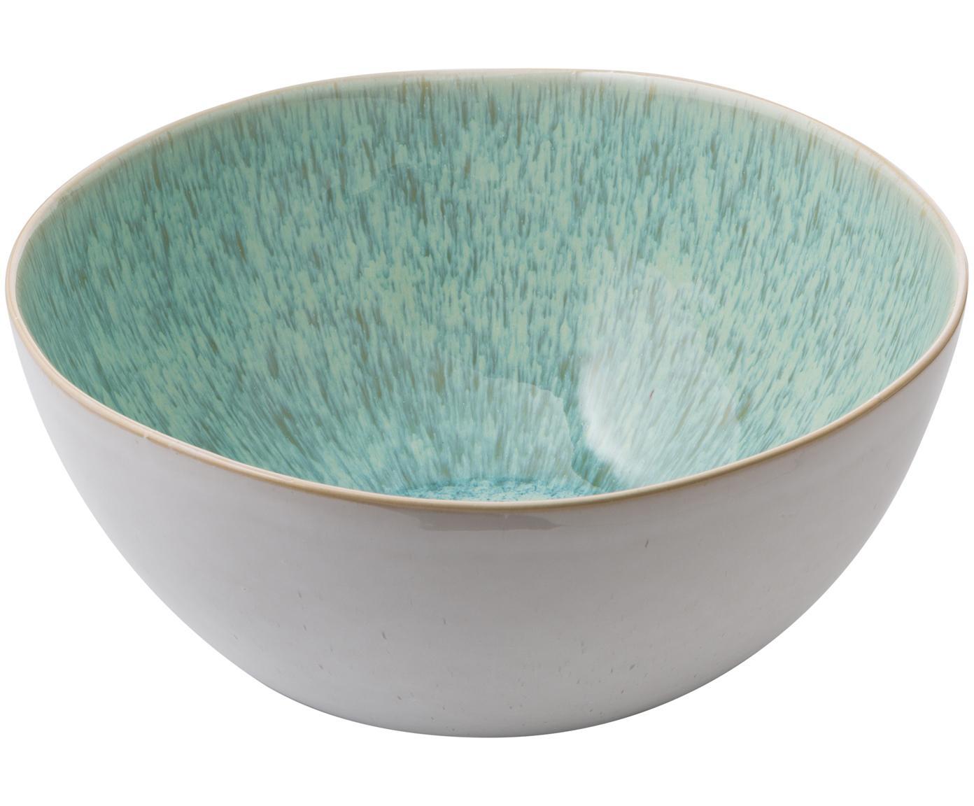 Handbemalte Salatschüssel Areia mit reaktiver Glasur, Steingut, Mint, Gebrochenes Weiß, Beige, Ø 26 x H 12 cm