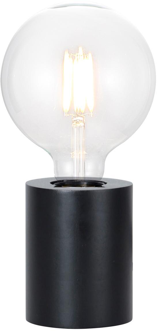 Kleine Tischlampe Tub aus Holz, Schwarz, Ø 8 x H 10 cm