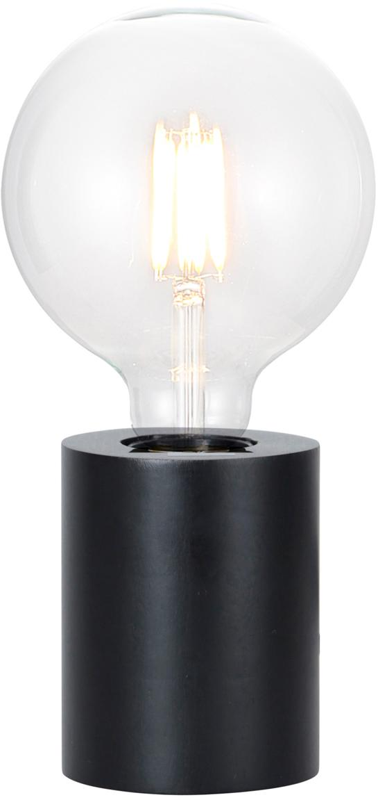 Lampada da tavolo in legno Tub, Lampada: legno rivestito, Nero, Ø 8 x Alt. 10 cm