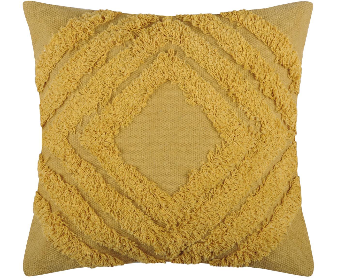 Cuscino boho con imbottitura Greenmood, Rivestimento: cotone, Giallo senape, Larg. 40 x Lung. 40 cm