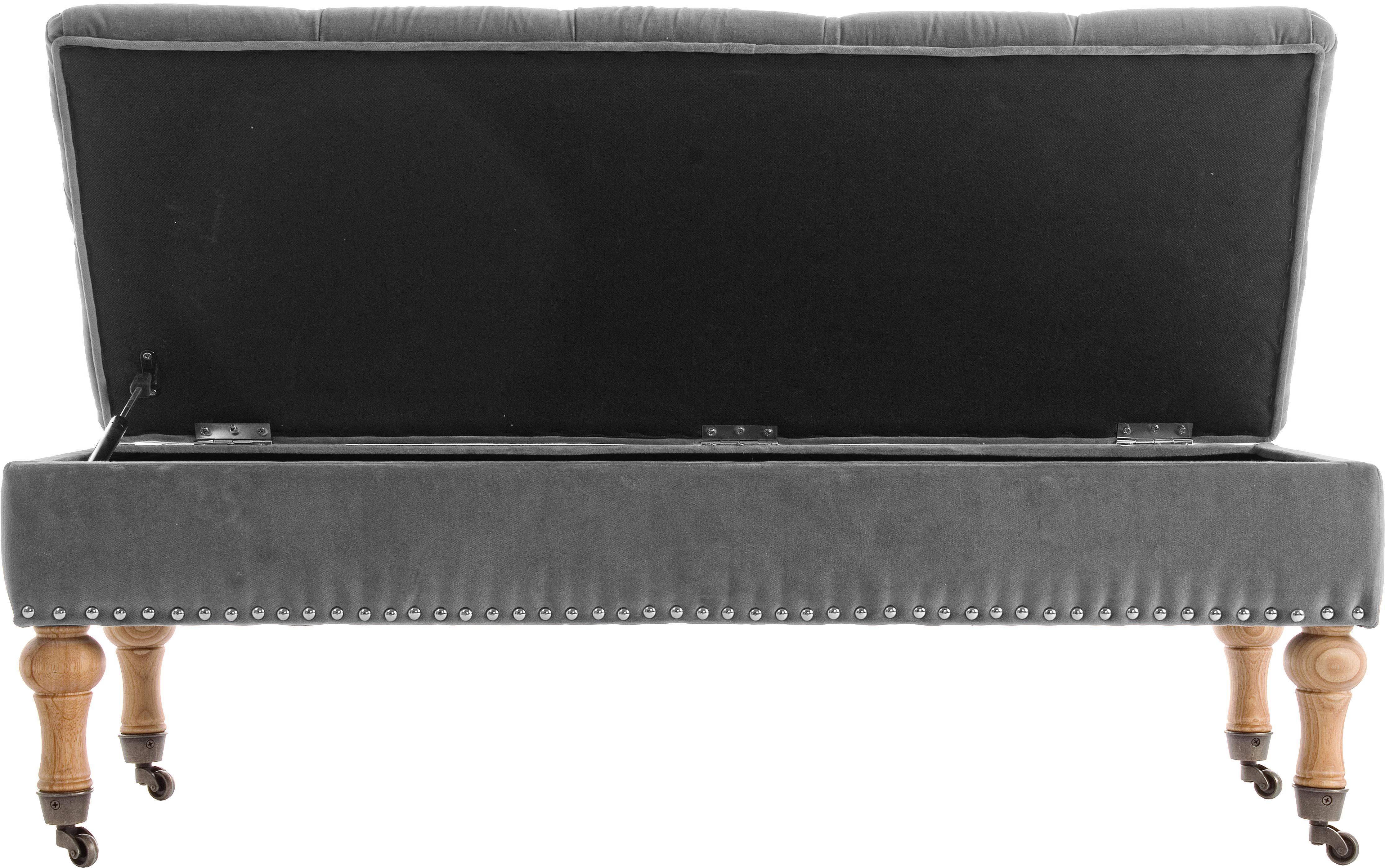 Samt-Sitzbank Arlette mit Stauraum, Bezug: Velours, Beine: Pinienholz Polsterung aus, Grau, Pinienholz, Silberfarben, 110 x 40 cm