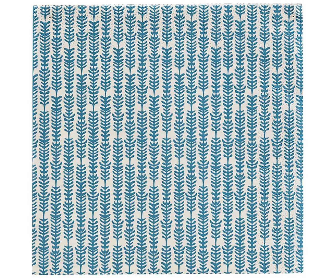 Papierservietten Branch, 20 stuks, Papier, Blauw, wit, 33 x 33 cm