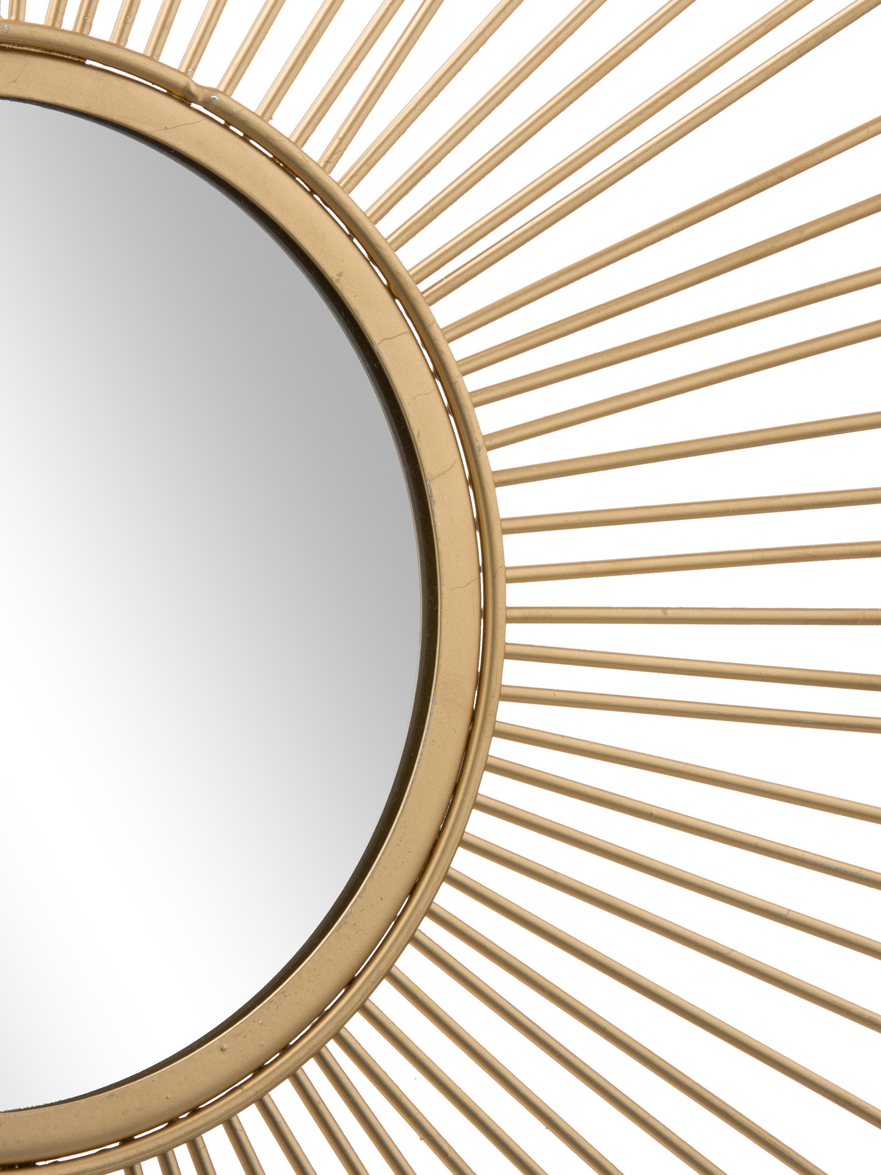 Specchio solare in oro Brooklyn, Cornice: metallo, Superficie dello specchio: lastra di vetro, Cornice: dorato Superficie dello specchio: lastra di vetro, Ø 50 cm