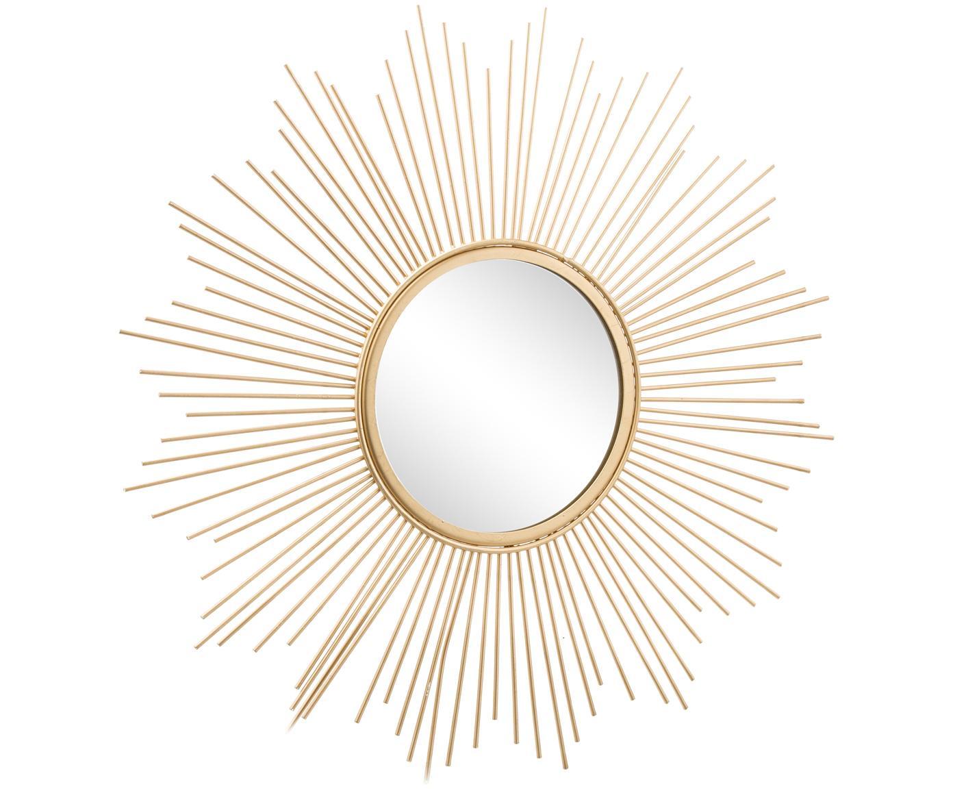 Zonnespiegel Brooklyn in goudkleur, Frame: metaal, Lijst: goudkleurig. Spiegelvlak: spiegelglas, Ø 50 cm