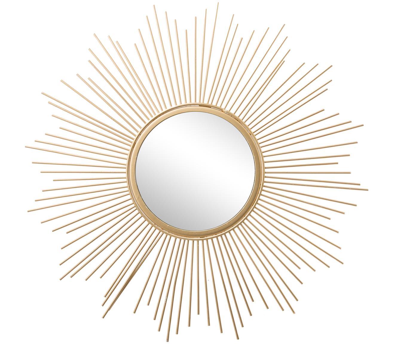 Sonnenspiegel Brooklyn in Gold, Rahmen: Metall, Spiegelfläche: Spiegelglas, Rahmen: GoldfarbenSpiegelfläche: Spiegelglas, Ø 50 cm