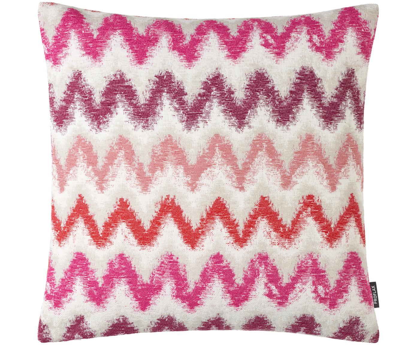 Kissenhülle Pari mit Zickzack-Muster, 100% Polyester, Hellbeige, Pink- und Rosatöne, 45 x 45 cm