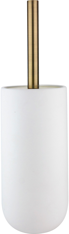 Toilettenbürste Lotus mit Keramik-Behälter, Behälter: Keramik, Griff: Metall, beschichtet, Weiß, Messingfarben, Schwarz, Ø 10 x H 21 cm