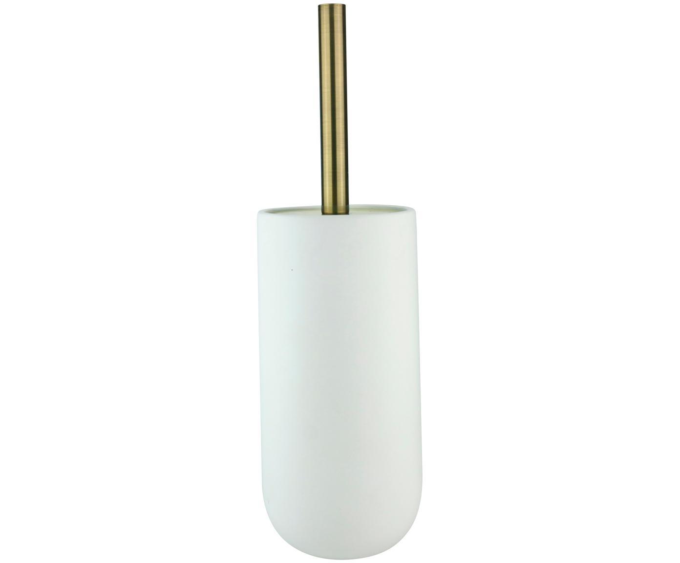 WC-borstel Lotus, Houder: keramiek, Wit, messingkleurig,  zwart, Ø 10 x H 21 cm