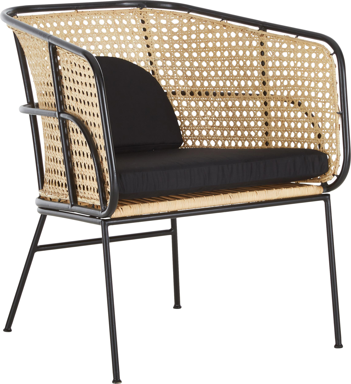 Rattan-Loungestuhl Merete, Sitzfläche: Rattan, Gestell: Metall, pulverbeschichtet, Sitzfläche: RattanGestell: Schwarz, mattKissenhüllen: Schwarz, B 72 x T 74 cm