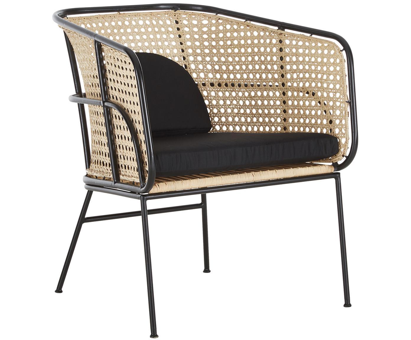 Krzesło z rattanu z podłokietnikami Merete, Stelaż: metal malowany proszkowo, Siedzisko: rattan Stelaż: czarny, matowy Poszewki: czarny, S 72 x G 74 cm