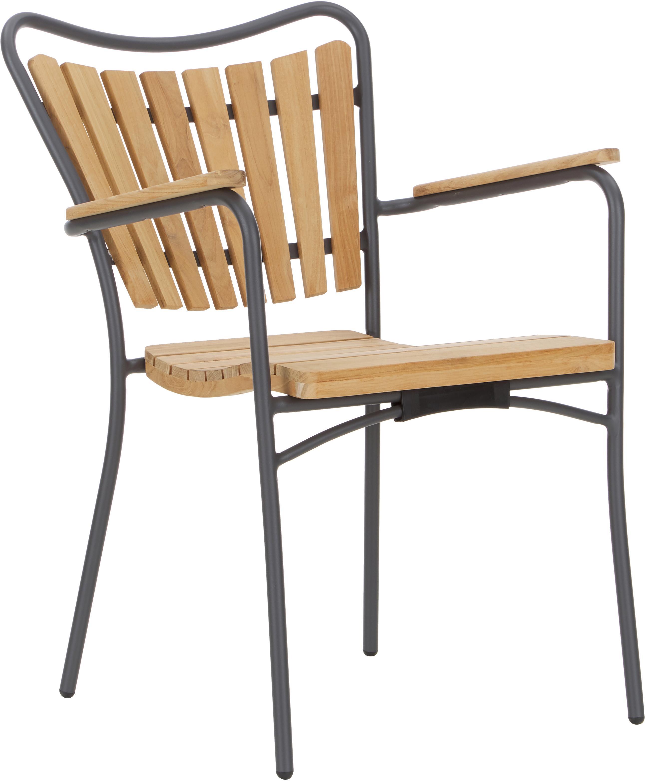 Silla con reposabrazos de jardín de madera Hard & Ellen, Estructura: aluminio con pintura en p, Gris antracita, teca, An 56 x Al 78 cm