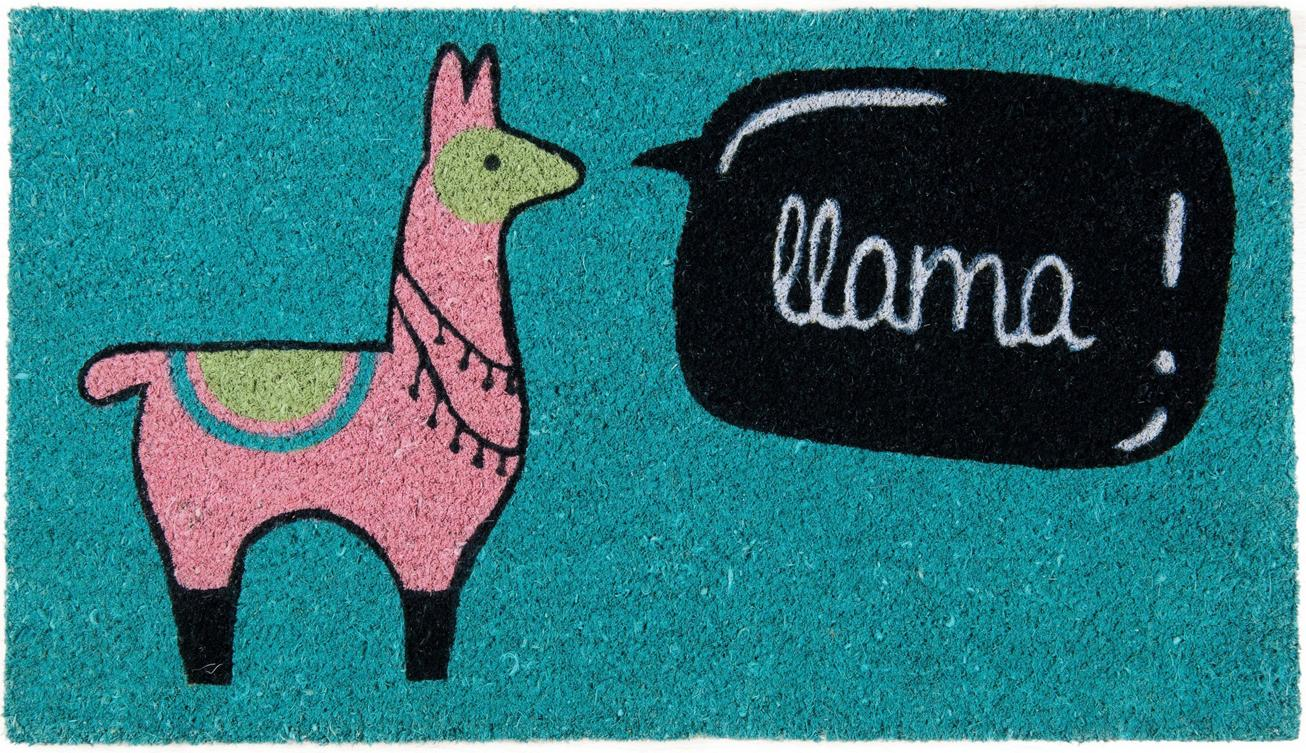 Wycieraczka Llama, Włókno kokosowe, Niebieski, blady różowy, czarny, beżowy, biały, S 40 x D 70 cm