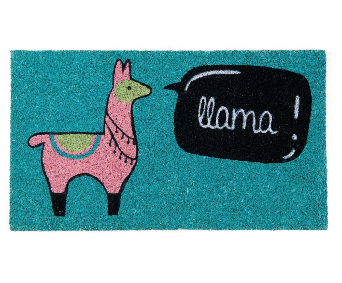 Deurmat Llama, Kokosvezels, Blauw, roze, zwart, beige, wit, 40 x 70 cm