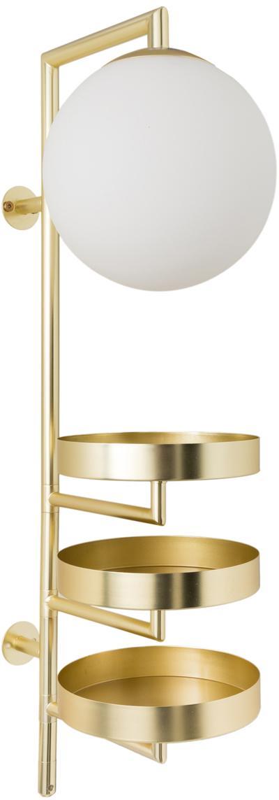 Applique con spina Astoria, Struttura: ottone, Paralume: vetro opalino, Ottone, Larg. 30 x Alt. 62 cm