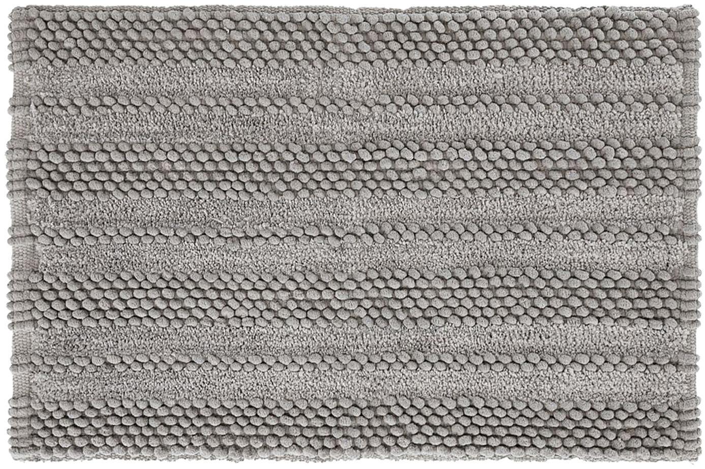 Badvorleger Nea in Hellgrau mit Hoch-Tief-Struktur, 65% Chenille, 35% Baumwolle, Grau, 80 x 120 cm