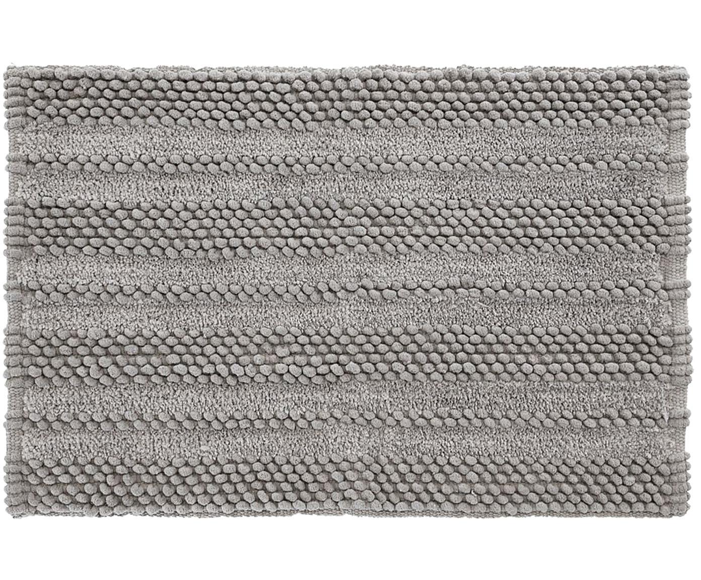 Badmat Nea in lichtgrijs met hoog-laag-structuur, 65% chenille, 35% katoen, Grijs, 80 x 120 cm