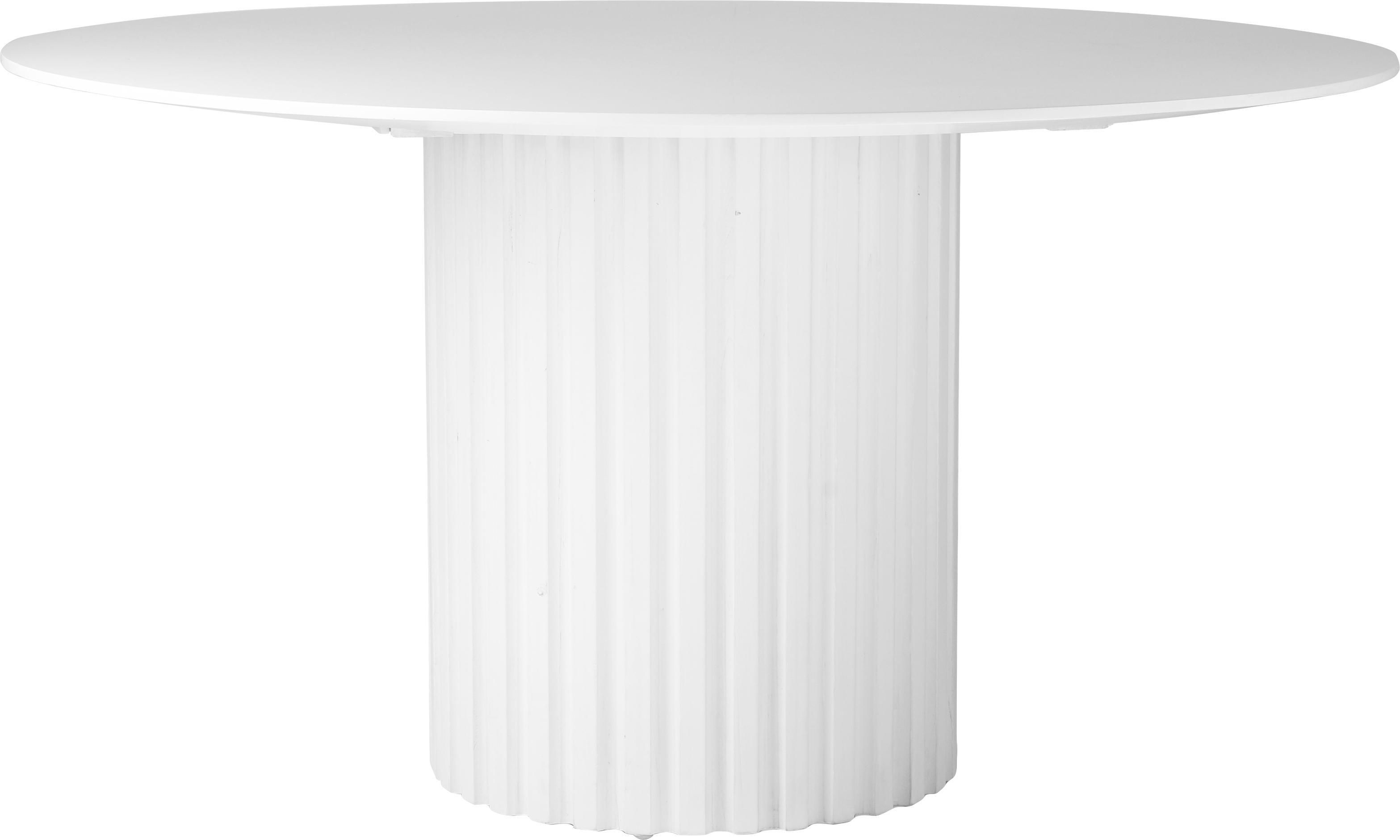Runder Esstisch Pillar in Weiss, Sungkai-Holz, Mitteldichte Holzfaserplatte (MDF), Weiss, Ø 140 x H 75 cm