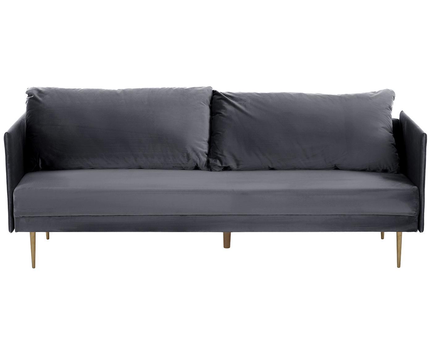 Sofá cama de terciopelo Lauren, Tapizado: terciopelo (poliéster) 28, Estructura: madera de pino, Patas: metal, pintado, Tapizado: gris Patas: dorado, brillante, An 206 x Al 87 cm