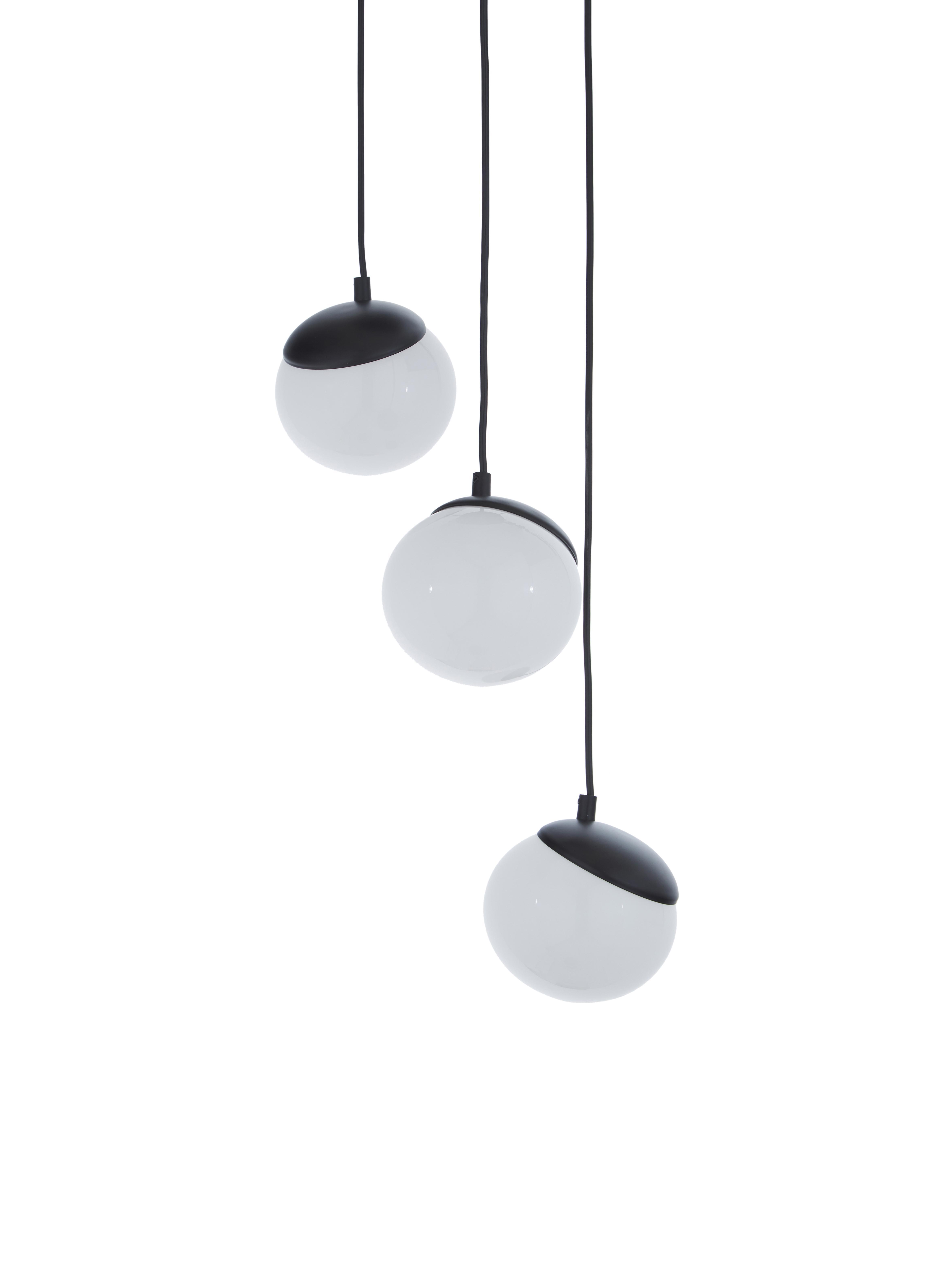 Pendelleuchte Sfera aus Opalglas, Lampenschirm: Opalglas, Schwarz, Opalweiss, Ø 35 x H 90 cm