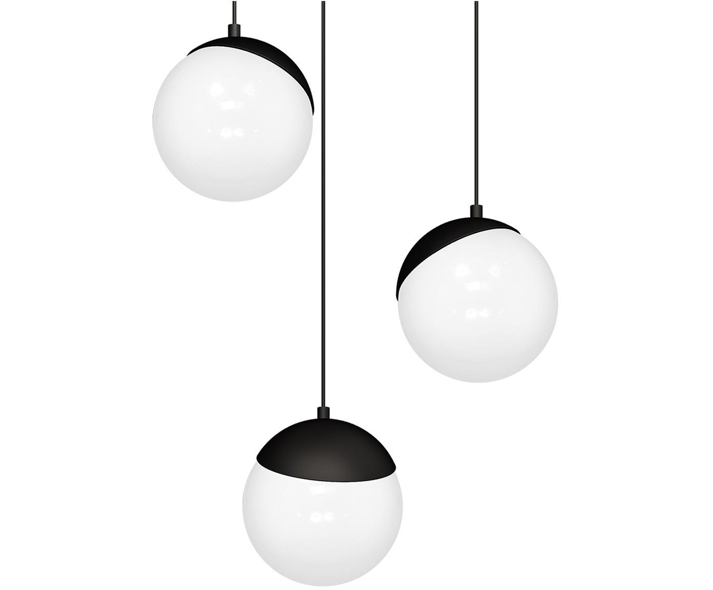 Pendelleuchte Sfera aus Opalglas, Lampenschirm: Opalglas, Schwarz, Opalweiß, Ø 35 x H 90 cm