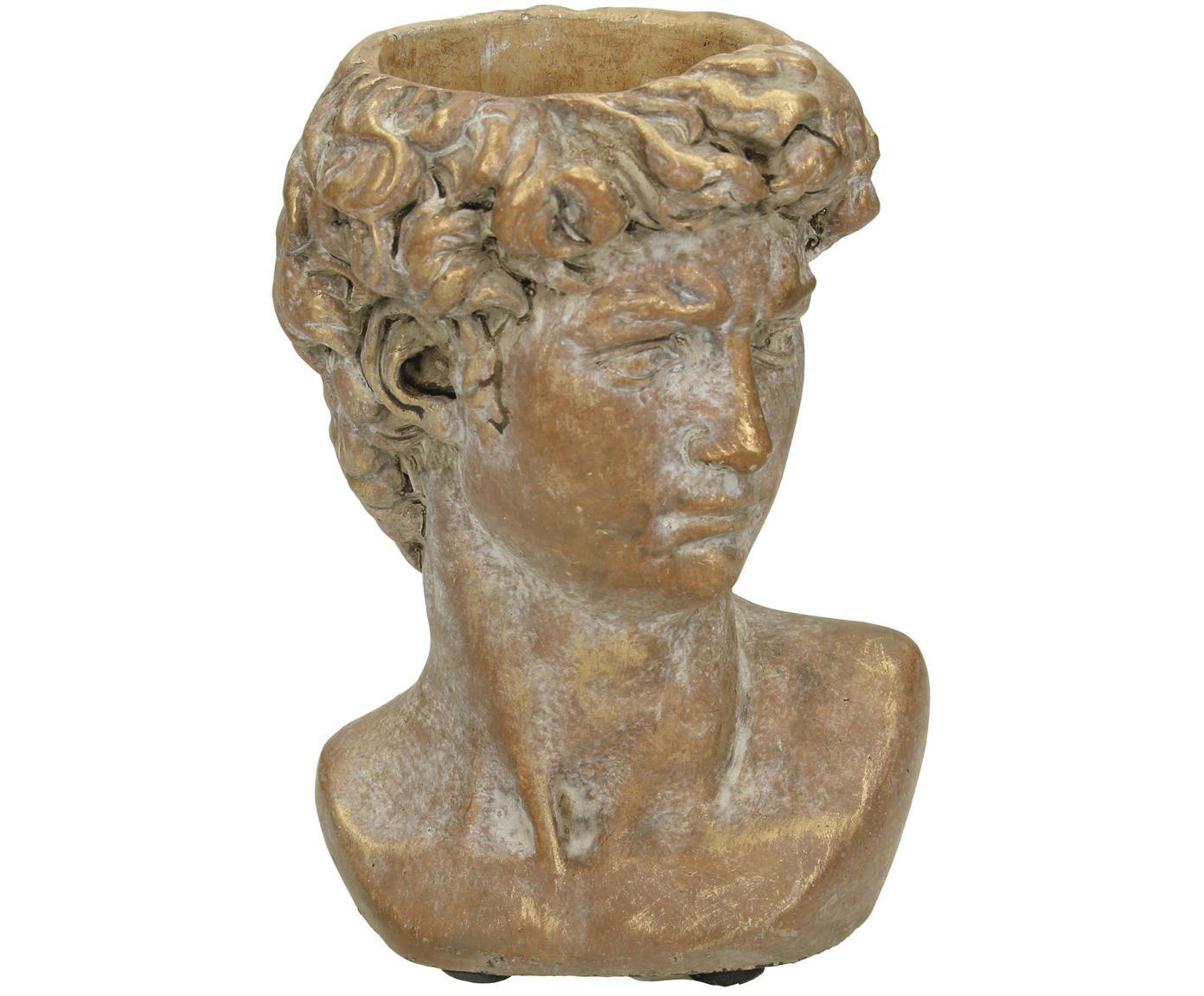 Portavaso David, Cemento, Marrone, dorato con finitura antica, Larg. 10 x Alt. 15 cm