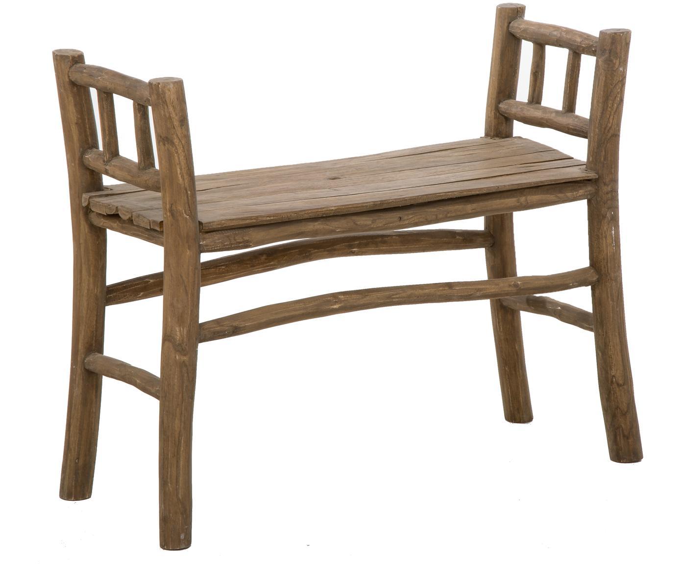 Ławka z drewna tekowego Beachside, Naturalne drewno tekowe, Drewno tekowe, S 80 x W 64 cm