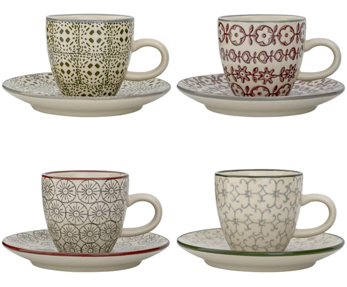 Set de tazas de café Karine, 8pzas., Gres, Blanco, verde, rojo, gris, Ø 6 x Al 6 cm