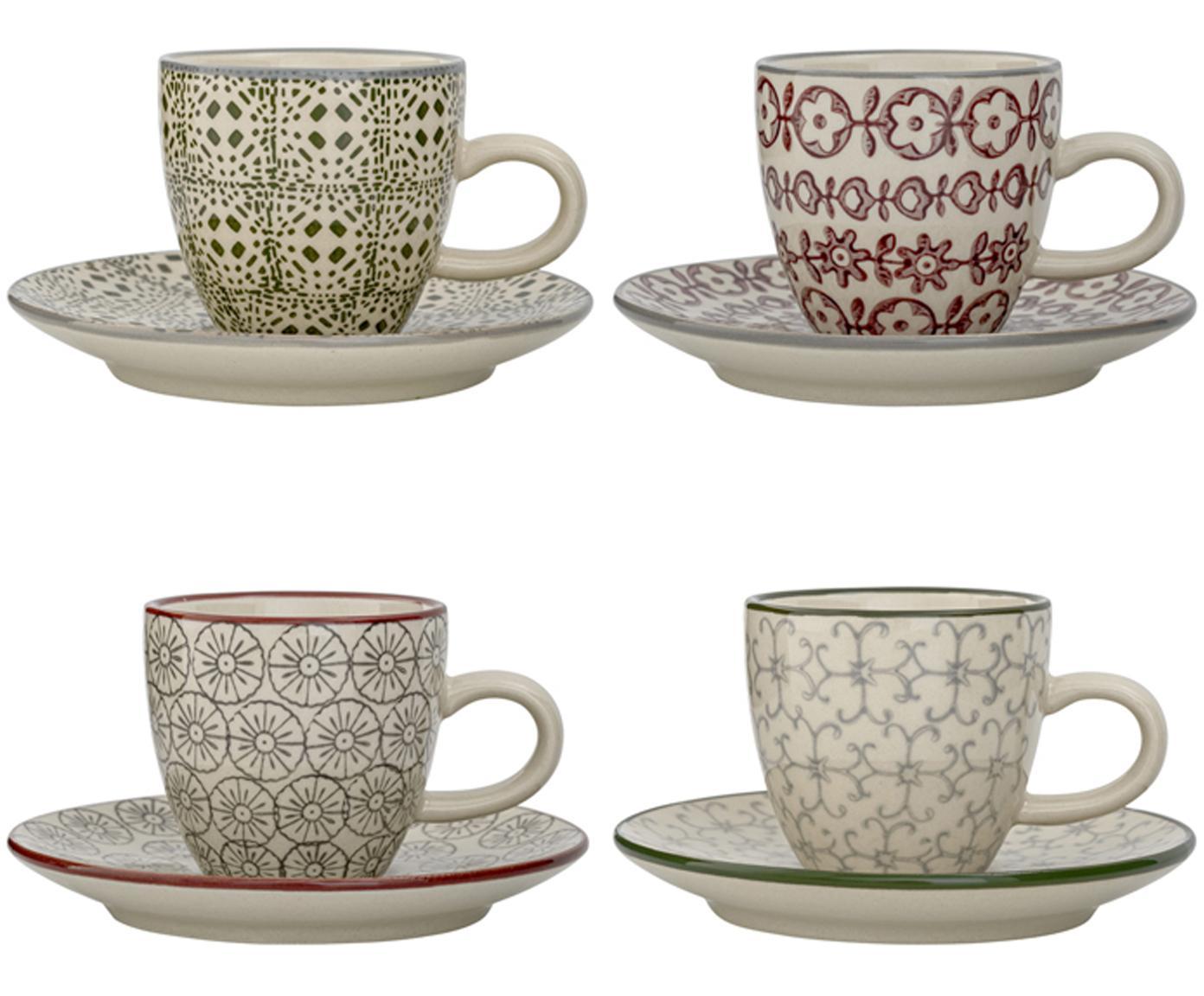 Set tazze da caffè Karine, 8 pz., Terracotta, Bianco, verde, rosso, grigio, Ø 6 x Alt. 6 cm