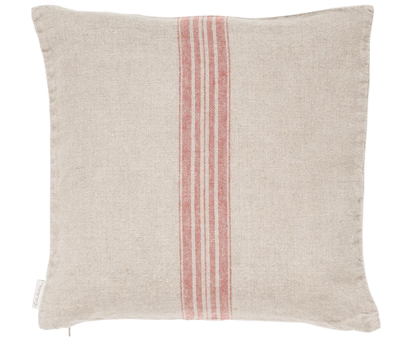 Federa arredo in lino Jara, Beige, rosso, Larg. 40 x Lung. 40 cm