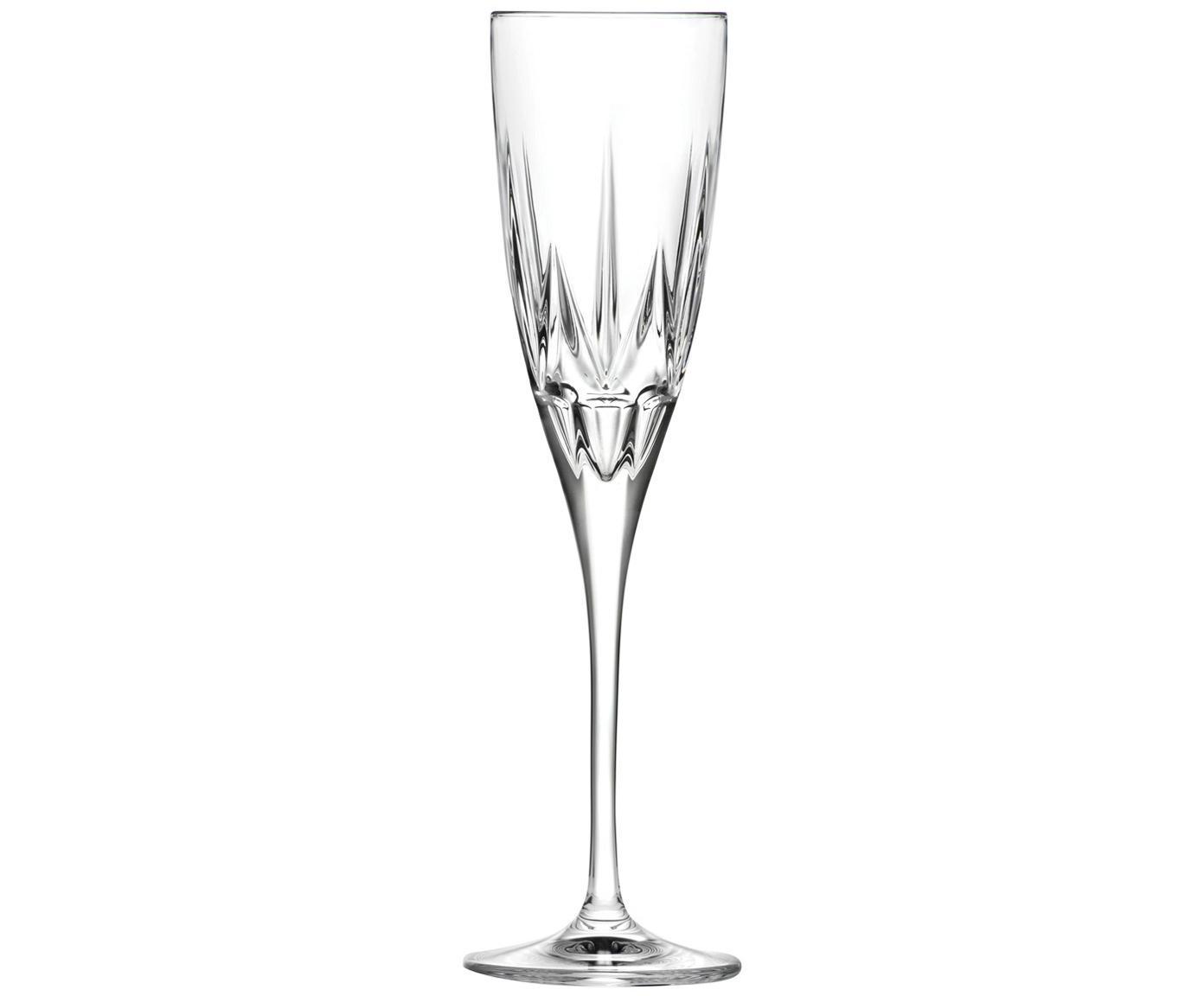 Kristall-Sektgläser Chic mit Relief, 6er-Set, Kristallglas, Transparent, Ø 6 x 24 cm