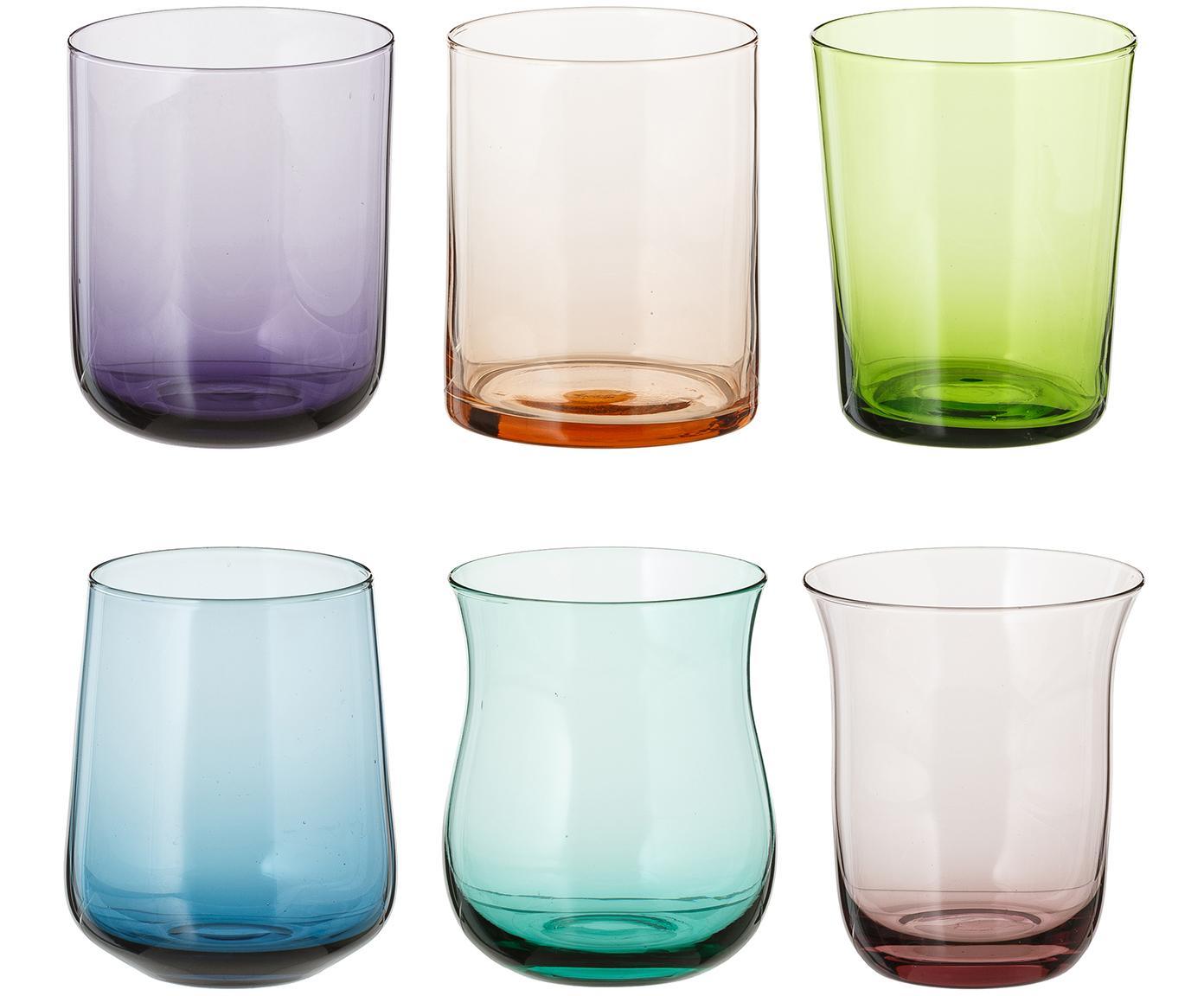 Vasos de vidrio soplado Desigual, 6uds., Vidrio soplado, Multicolor, Al 10 cm