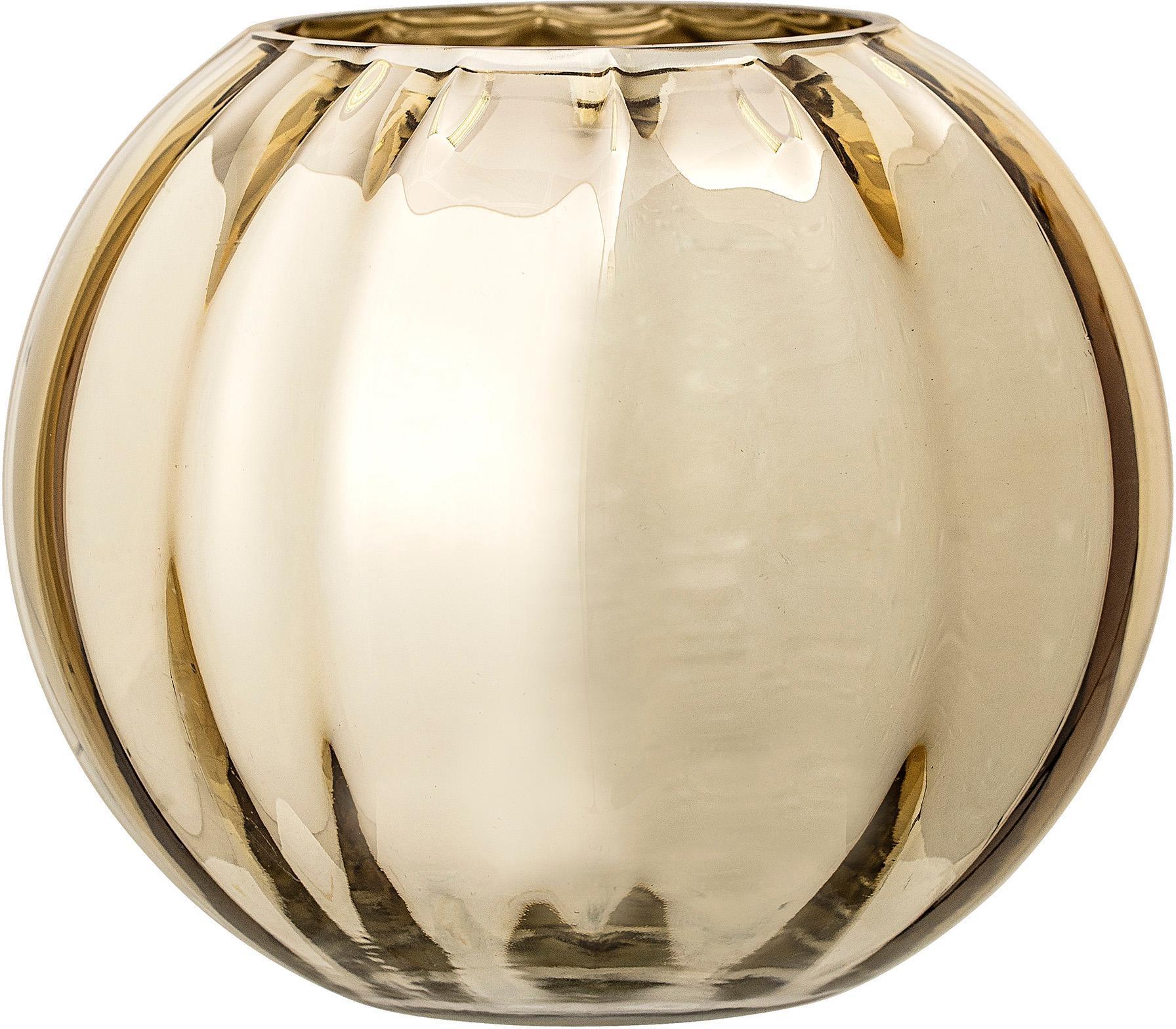 Kleine Glas-Vase Viola in Gold, Glas, Goldfarben, Ø 18 x H 15 cm
