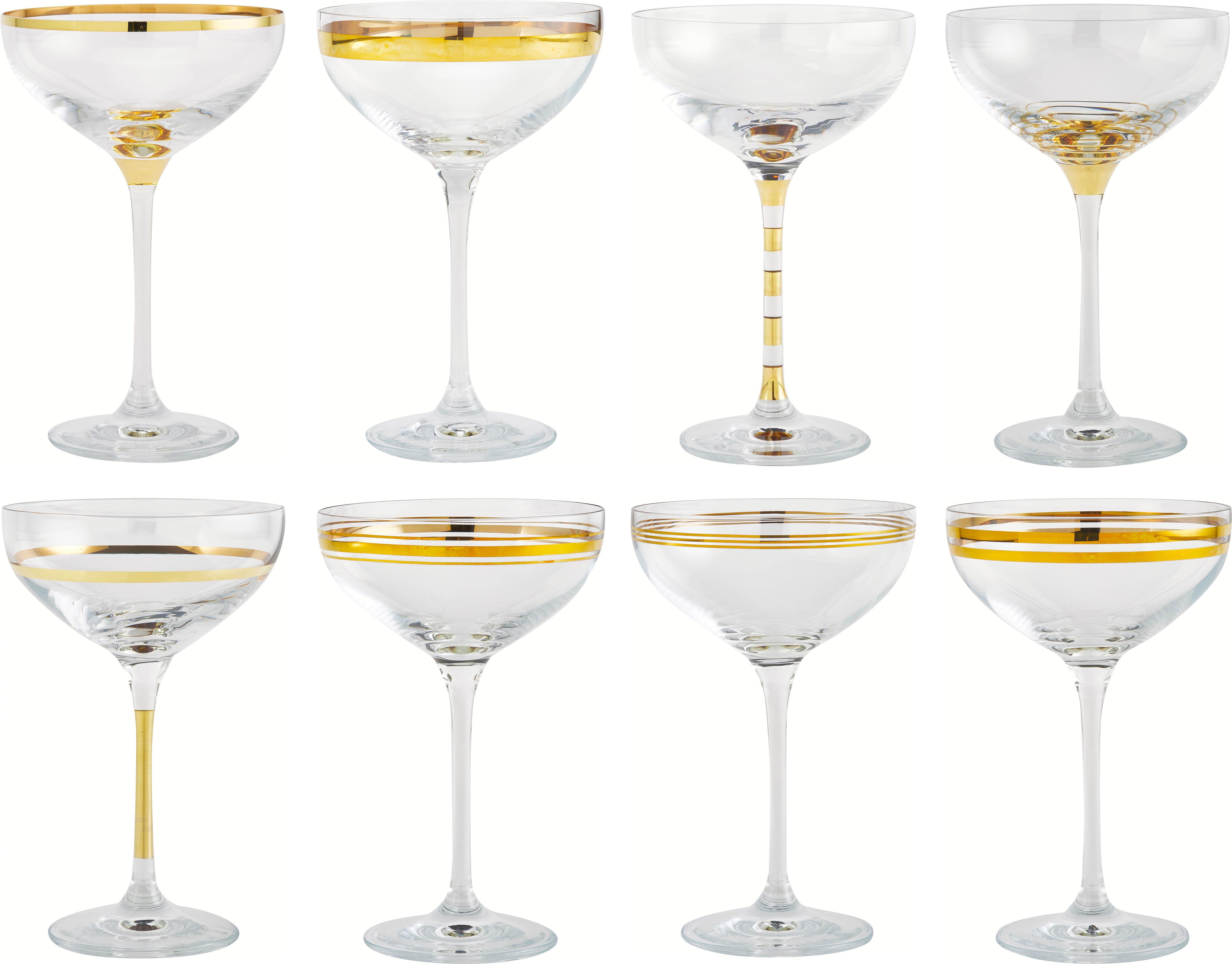 Champagnerschalen Deco mit Goldverzierungen, 8er-Set, Glas, Transparent, Goldfarben, Ø 11 x H 17 cm