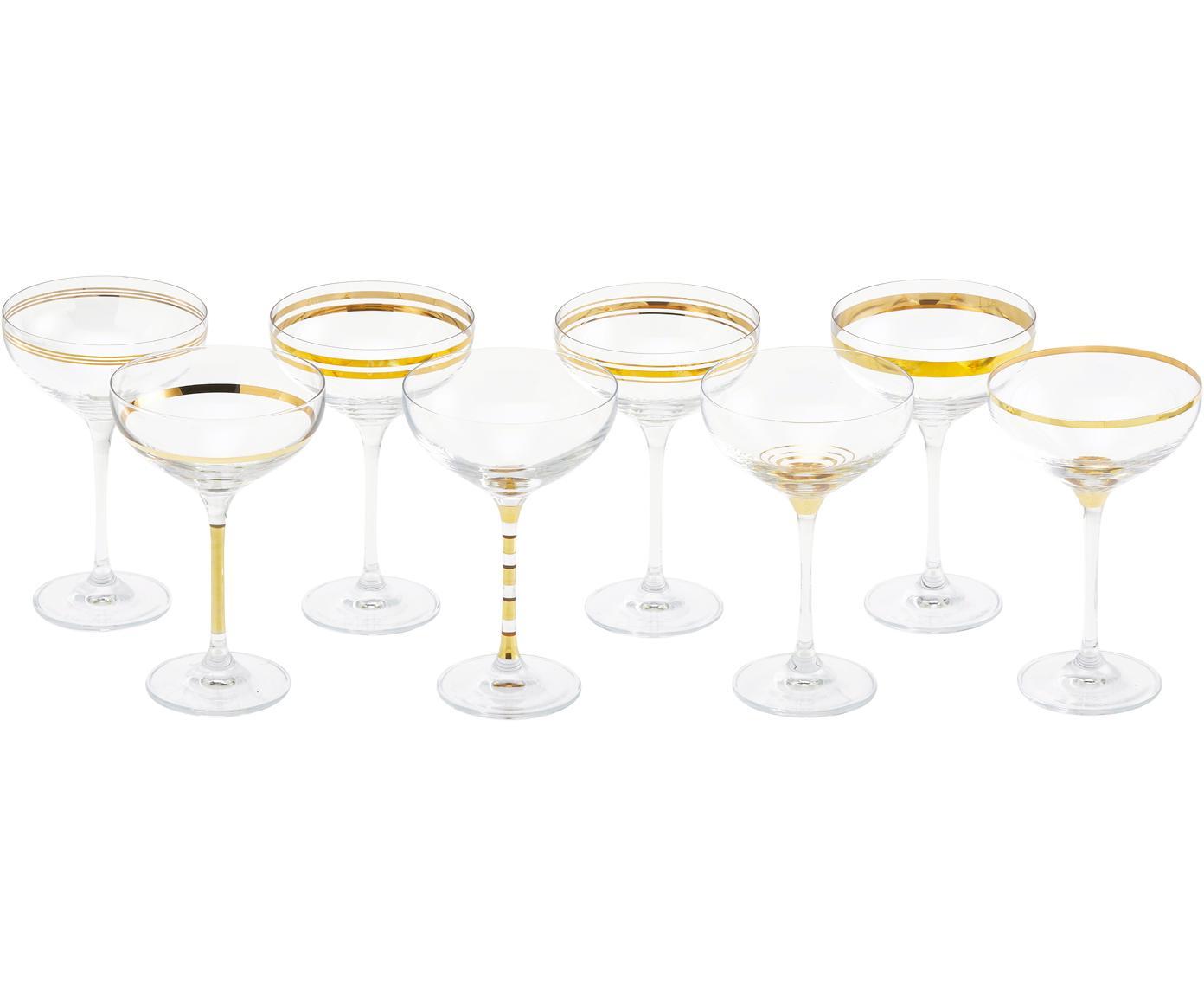 Set di 8 coppe da champagne Deco, Vetro, Trasparente, dorato, Ø 11 x Alt. 17 cm