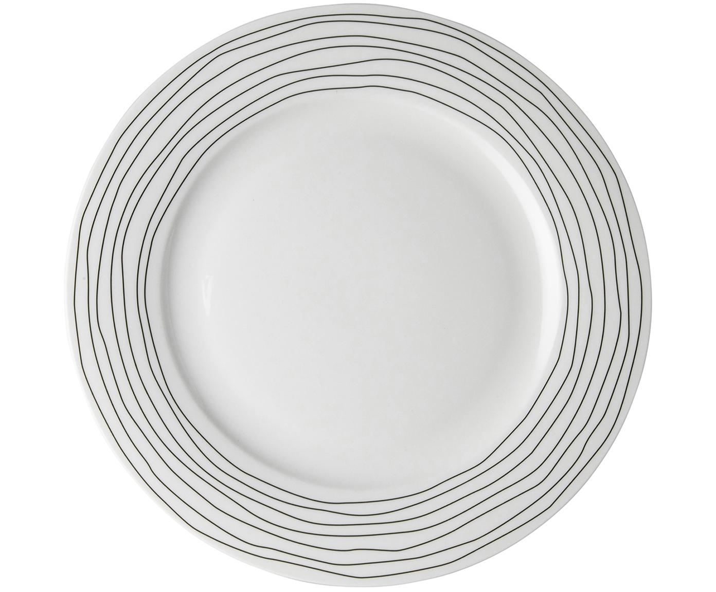 Speiseteller Eris Loft mit Liniendekor, 4 Stück, Porzellan, Weiss, Schwarz, Ø 26 x H 2 cm