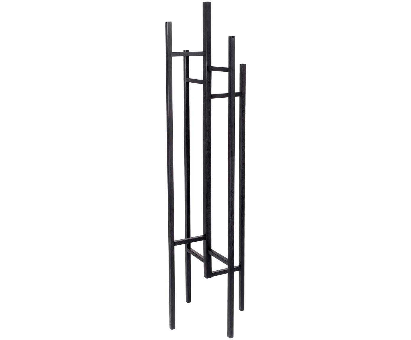 Wieszak stojący z 5 hakami Eigen, Drewno dębowe, lite i lakierowane, Czarny, S 47 x W 175 cm