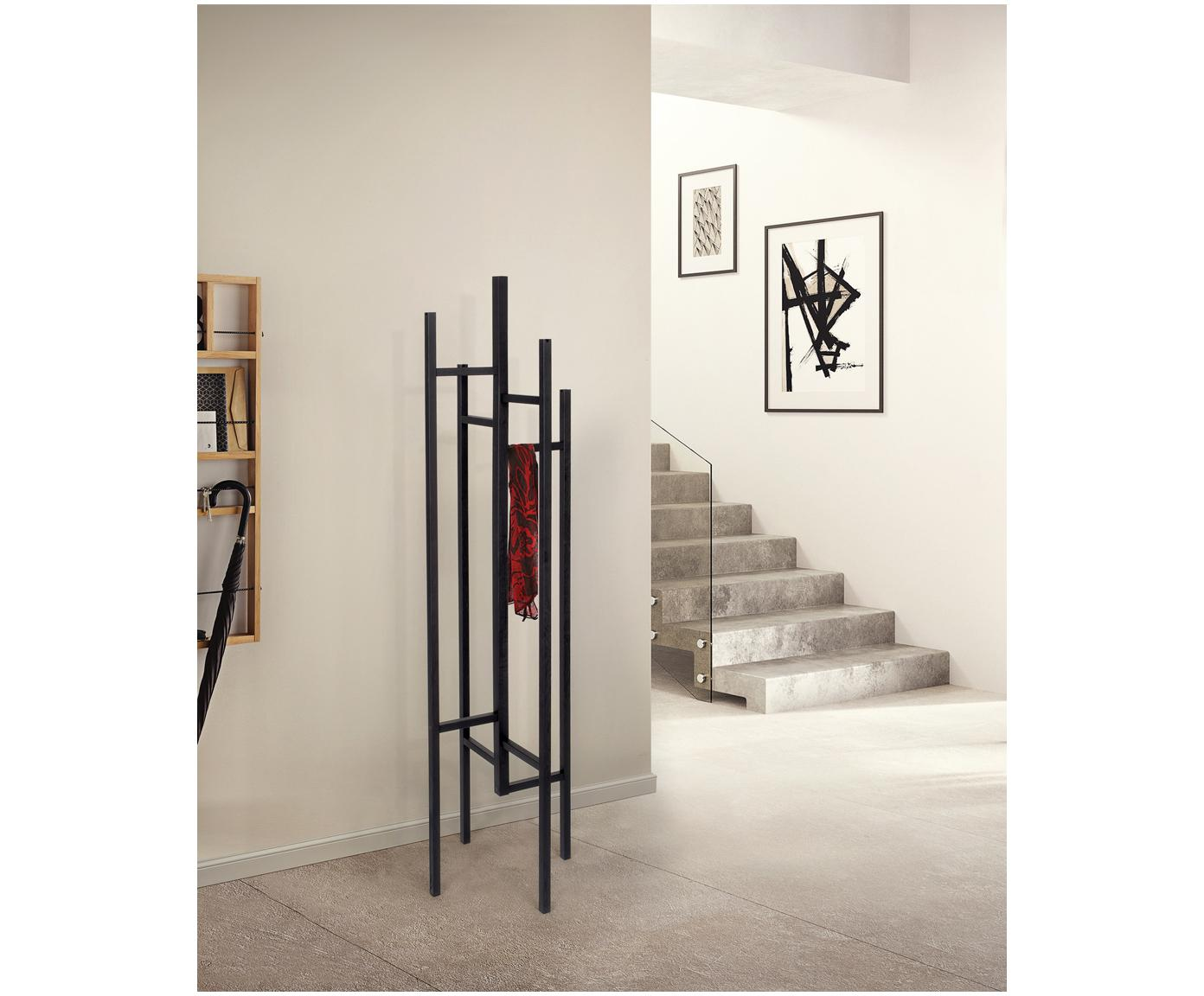 Moderne kapstok Eigen met 5 haken, Massief en gelakt eikenhout, Zwart, 47 x 175 cm