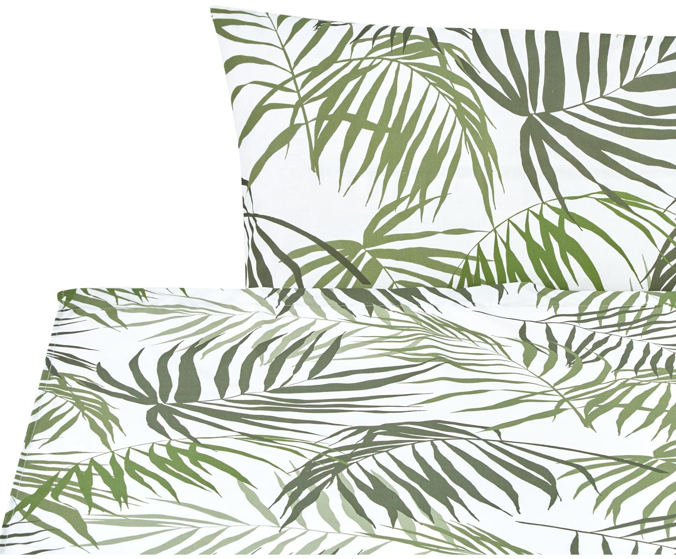 Set lenzuola in cotone Dalor 2 pz, Cotone, Verde, bianco, 160 x 270 cm