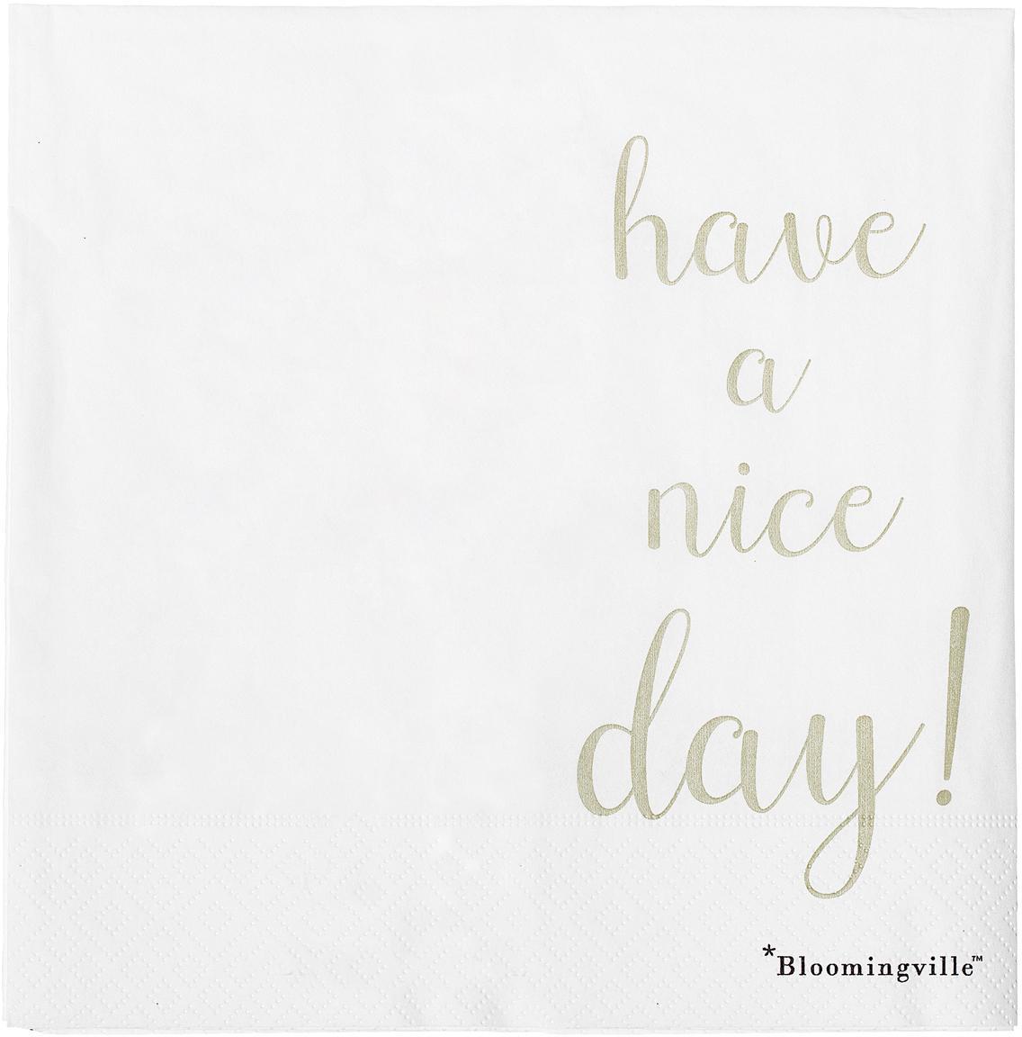 Sevilletas de papel Nipps, 16uds., Papel, Blanco, dorado, An 40 x L 40 cm