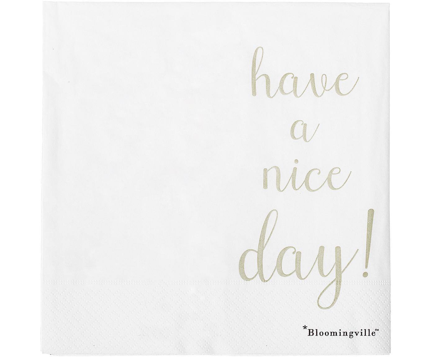 Serwetka z papieru Nipps, 16 szt., Papier, Biały, odcienie złotego, S 40 x D 40 cm