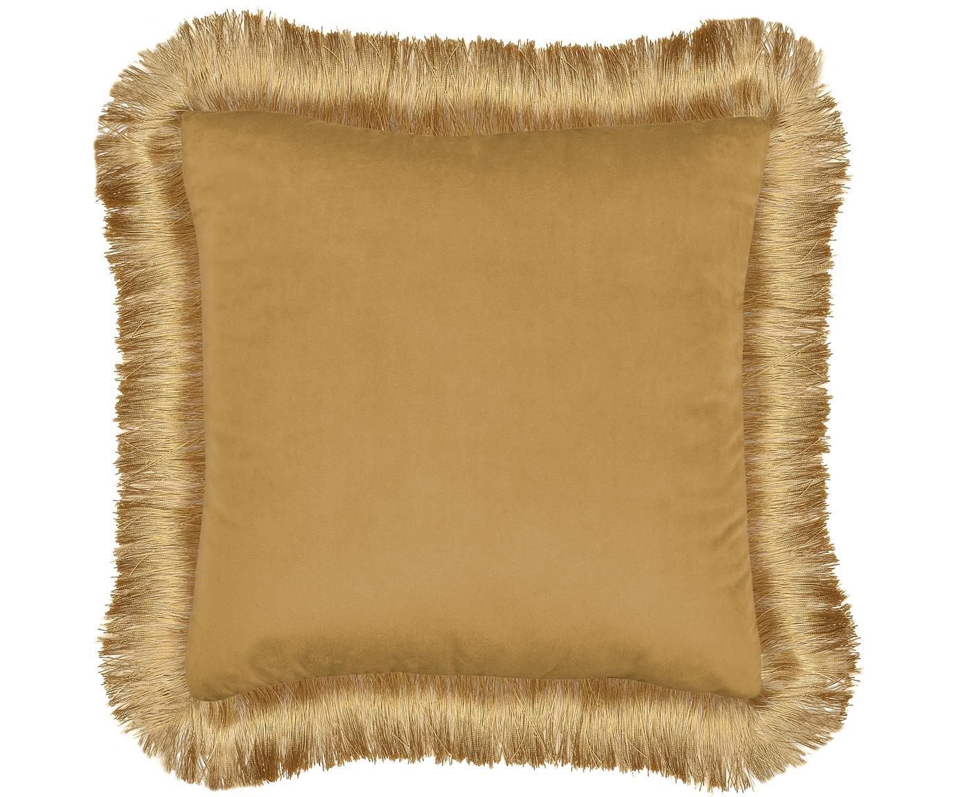 Cuscino con imbottitura Fringes, Marrone chiaro, Larg. 45 x Lung. 45 cm