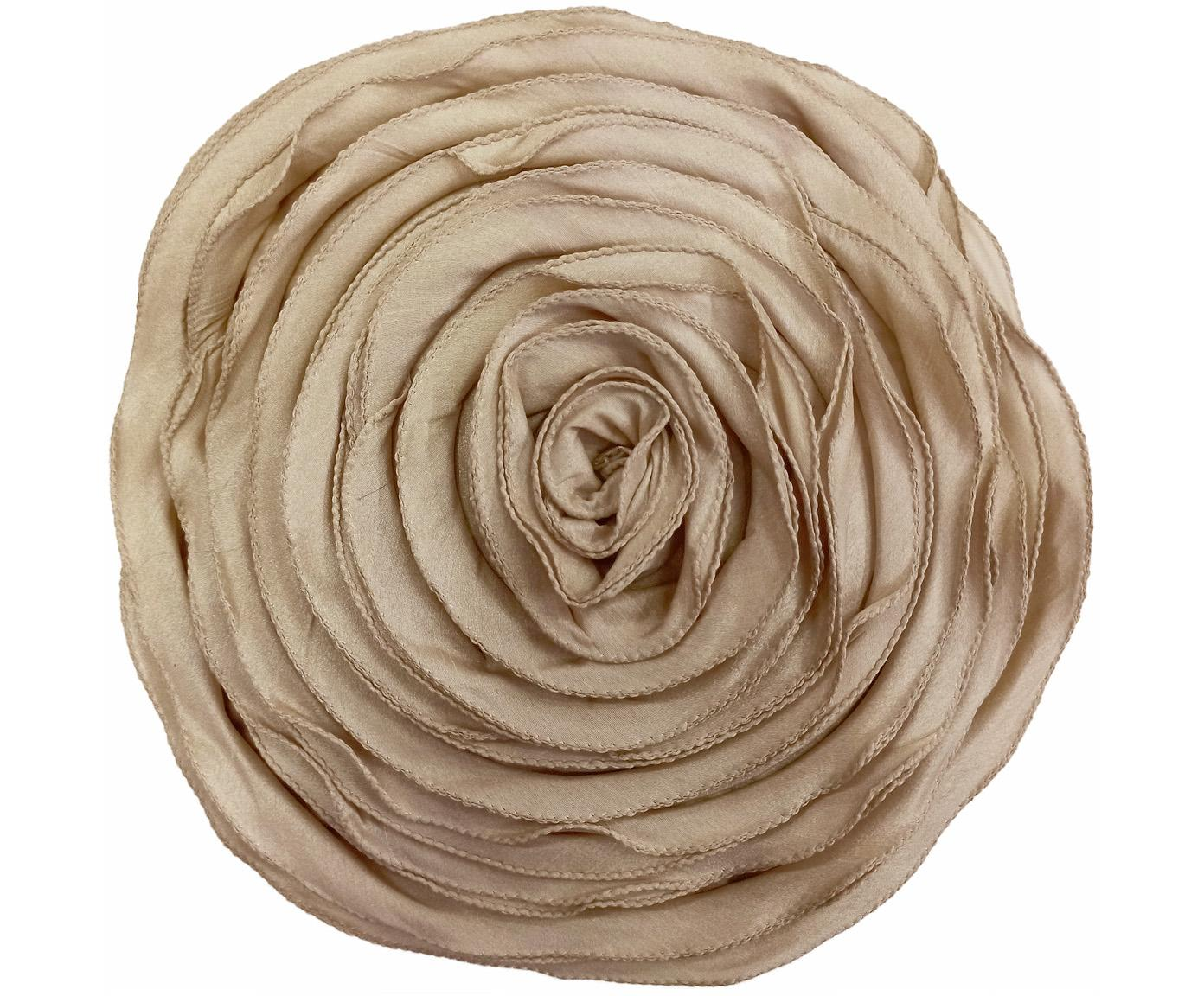 Cuscino a forma di rosa con imbottitura Bella, Poliestere, Beige, Larg. 30 x Lung. 50 cm