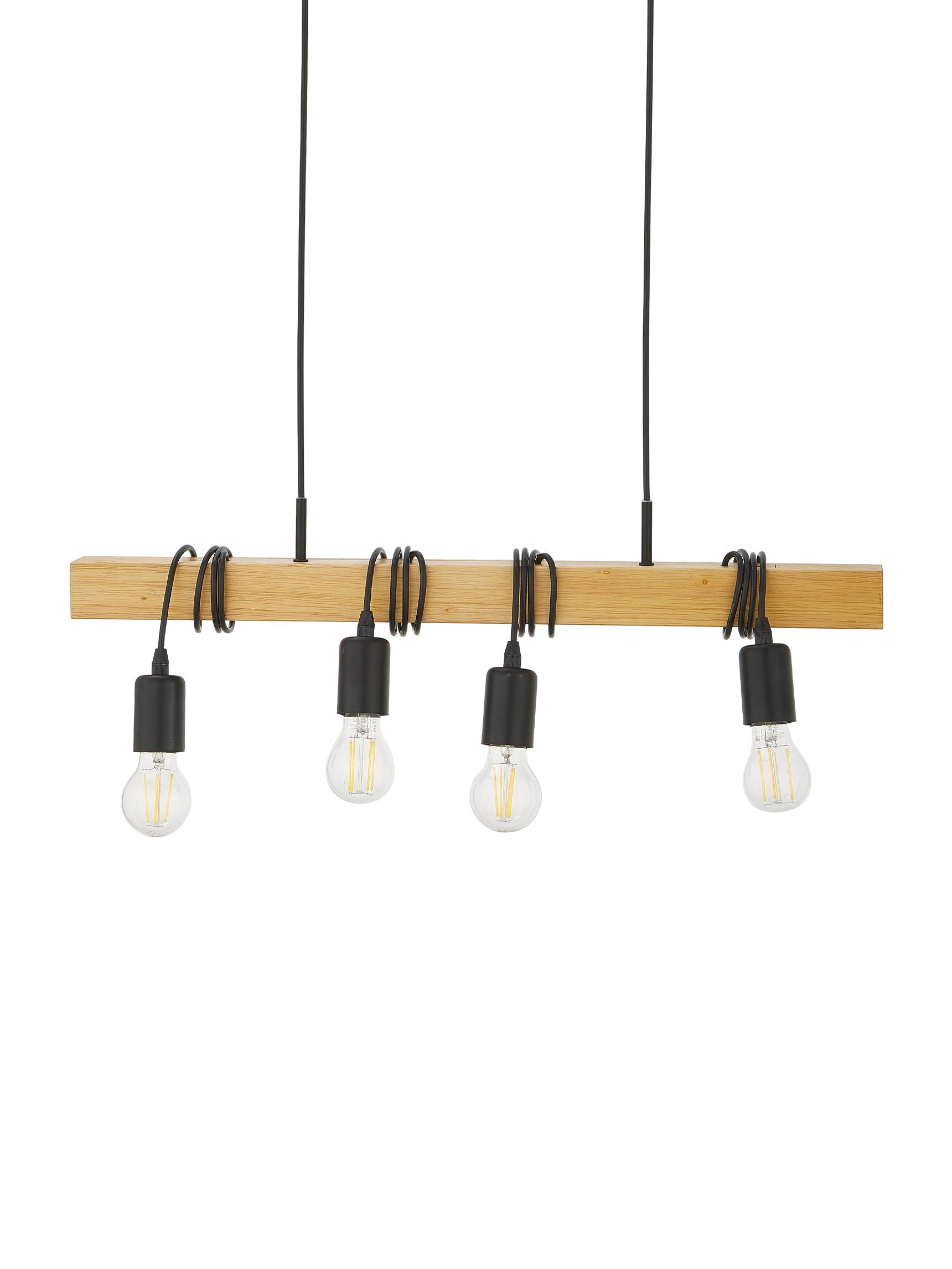 Pendelleuchte Townshend, Schwarz, Holz, 70 x 110 cm