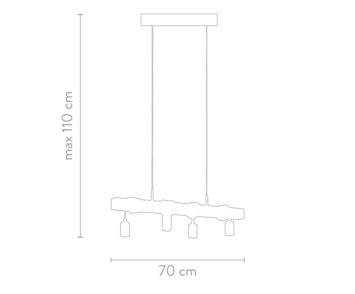 Hanglamp Townshend, Zwart, houtkleurig, 70 x 25 cm