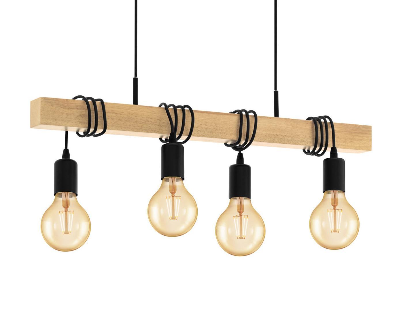 Lampa wisząca Townshend, Czarny, drewno naturalne, S 70 x W 25 cm
