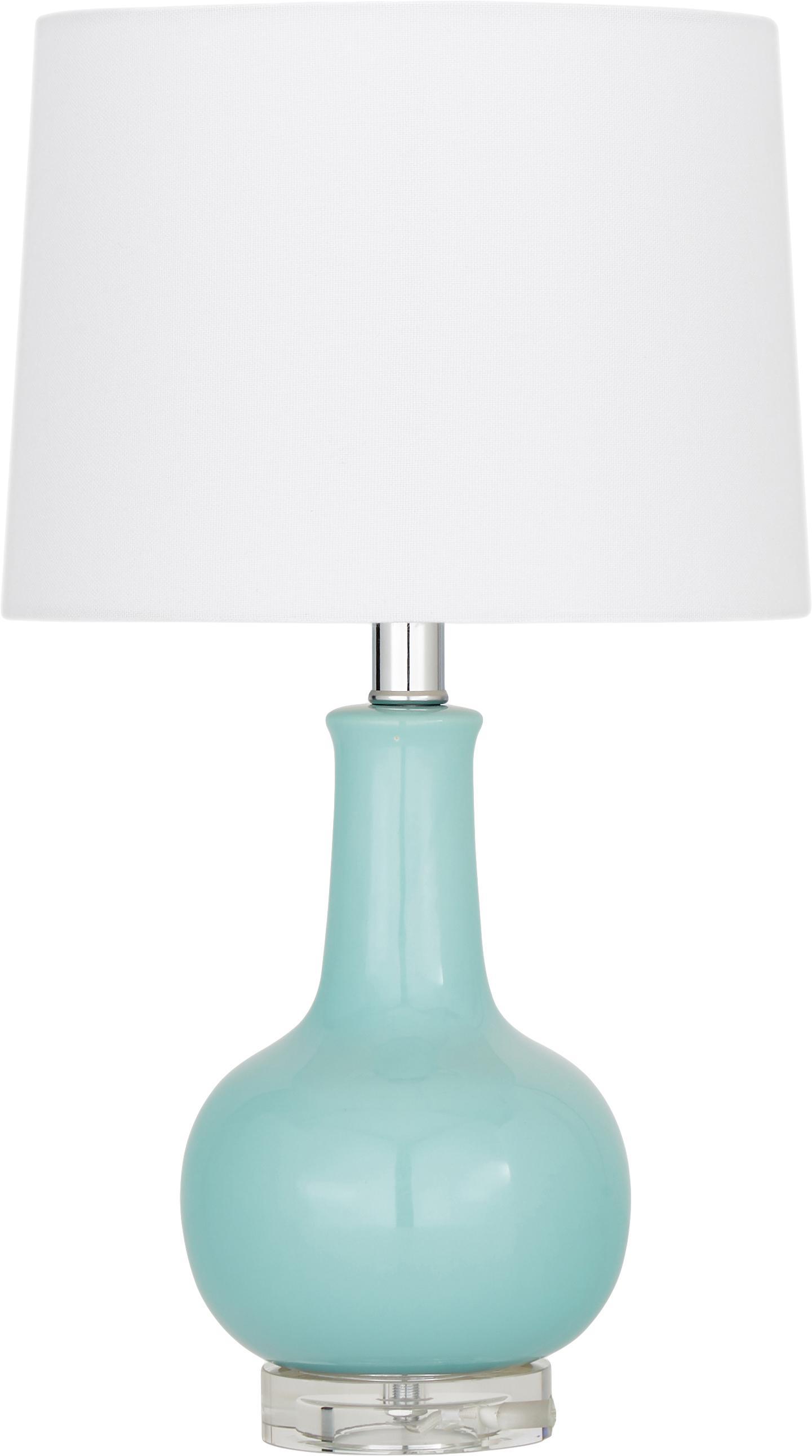 Keramische tafellamp Brittany, Lampenkap: textiel, Lampvoet: keramiek, kristalglas, Wit, turquoise, Ø 28 x H 48 cm
