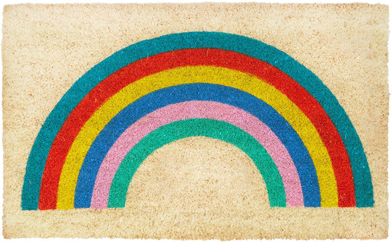 Fussmatte Rainbow mit Regenbogen Motiv, Oberseite: Kokosfaser, Unterseite: Kunststoff (PVC), Beige, Mehrfarbig, 45 x 75 cm